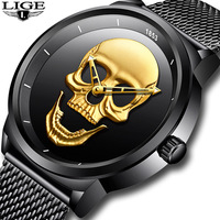 LIGE Steel Mesh Quartz Waterproof Watches Mens Top Luxury Brand Male sport watch men dress Wristwatch Clock relogio masculino