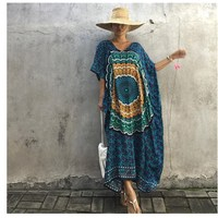 New Pattern Indonesia Bat Sleeve Printing Dress Robe Womens Summer Dresses