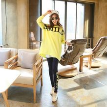 Fashion yellow casual style big size T-shirt SMILE letters pregnant clothes cotton Pajama Sets maternity nightgown leisure wear