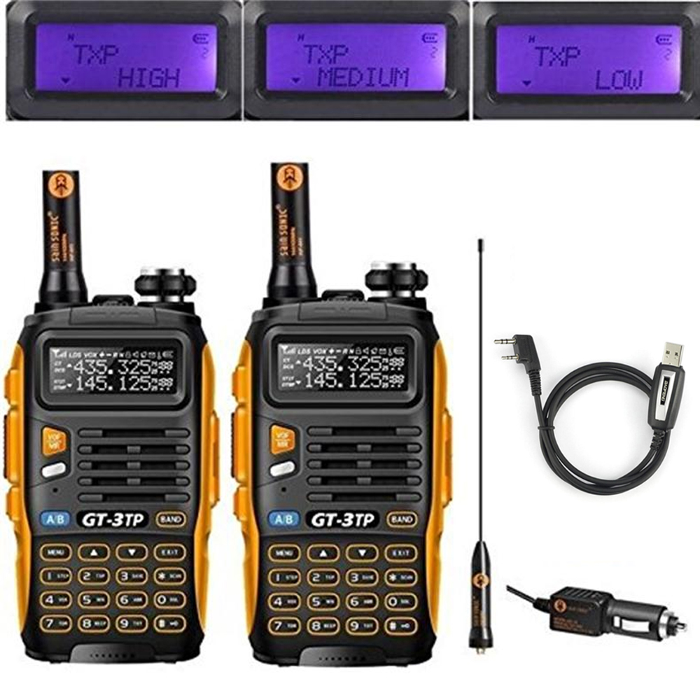 2 pc'er Baofeng GT-3TP MarkIII TP 1/4 / 8Watt High Power Dual Band 2M / 70cm skinke tovejs radio walkie talkie med programmeringskabel