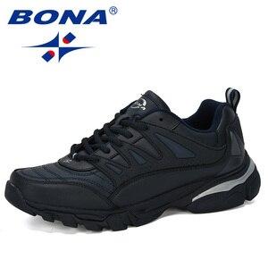 Image 2 - BONA 2019 New Designer Men Running Shoes Cow Split Krasovki Lace Up Non Slip Sport Shoes Men Sneakers Men Zapatillas Hombre Shoe