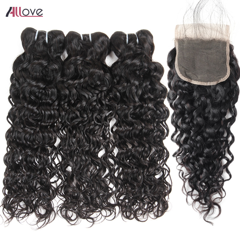 Allove Malaysian Water Wave Bundles With Closure Free Part Swiss Lace Closure 3 Pcs Remy Human Hair Bundles With Closure-in 3/4 Bundles with Closure from Hair Extensions & Wigs    1
