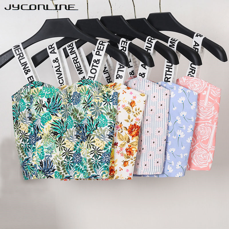 JYConline 2017 Womens Strap Tanks Crop Top Female Letter Print Summer Bralette Women Camisole Floral Tops Cropped Feminino Vest