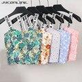 JYConline 2019 Womens Strap Tanks Crop Top Female Letter Print Summer Bralette Women Camisole Floral Tops Cropped Feminino Vest