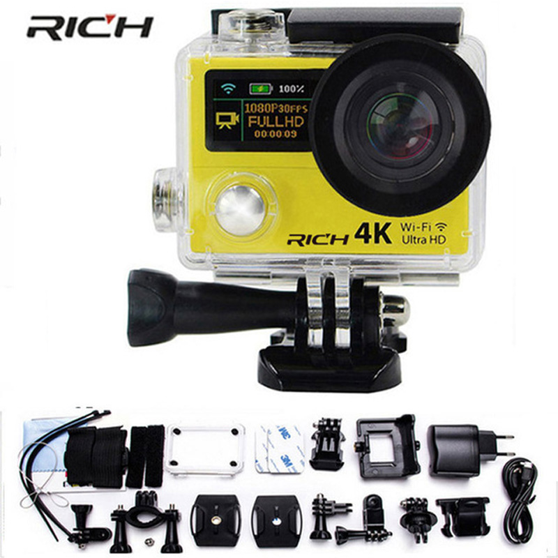 wholesale Free DHL Shipping Action camera H3R H3 Ultra HD 4K 1080P 170D Wide Angle Dual Screen Sports Camera action camera h3r h3 ultra hd 4k 170d lens go dual screen camera pro waterproof 30m remote control sport camera