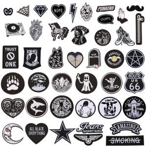 Biker-Patches Sticker Badge Skull Iron-On-Clothing Letter Appliques Embroidered Star