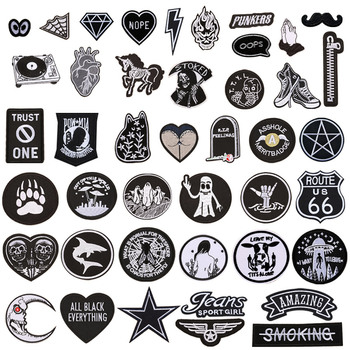 1pc Black White Biker Patches for Clothes Iron on Clothing Letter Appliques Skull Star Stripes Embroidered Sticker Round Badge image