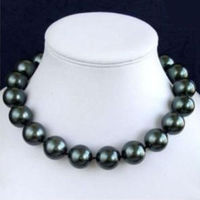 Free Shopping 14mm AAA Black South Sea Shell Pearl Necklace 18