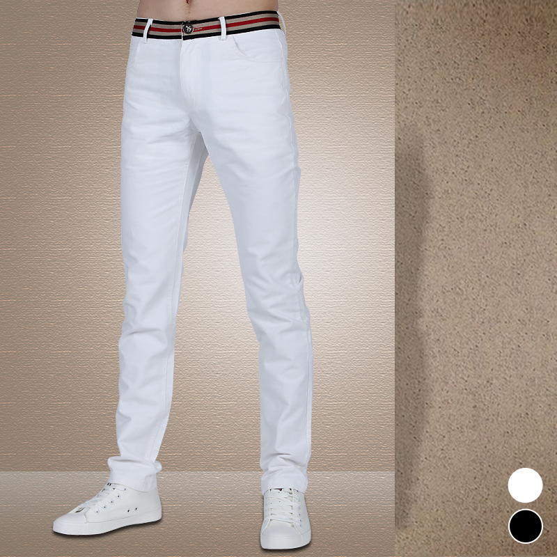 Left ROM Men's Fashion High Quality Goods Pure Color Fashion Casual Trousers Men Pants Black White Business Casual Pants Male