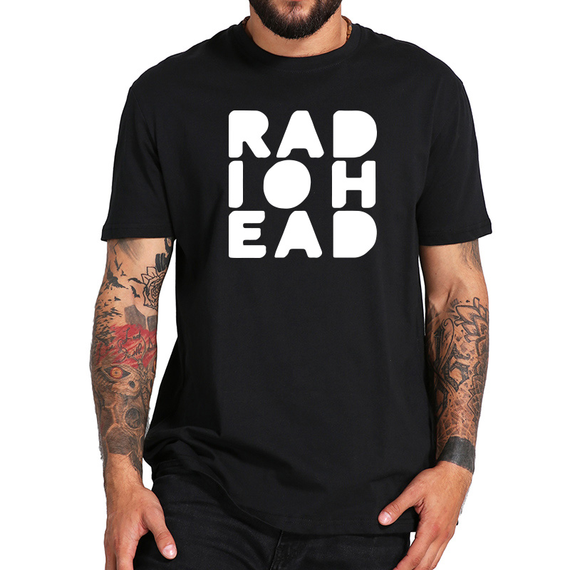 EU Size 100% Cotton   T     Shirt   Electronic Music Band Radiohead Tops Clothing Short Sleeve Comfortable O-Neck Homme