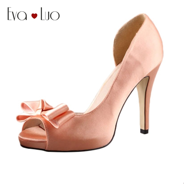 759a718a8f3 CHS380 DHL Express Bow Peach Satin Dress Pumps Bridal Wedding Shoes Big  Size Woman High Heels Platform Shoes Custom Handmade