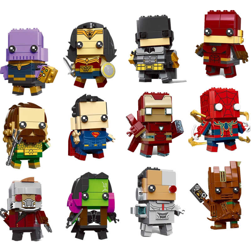 NEW brickheadz Figures The Avengers Justice League Marvel Super Hero Hulk Thanos Building Block Bricks Toys