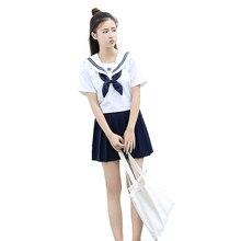 e01efe0da9 Niñas uniformes japonés marinero uniformes conjuntos Universidad viento  faldas plisadas clase uniformes femeninos