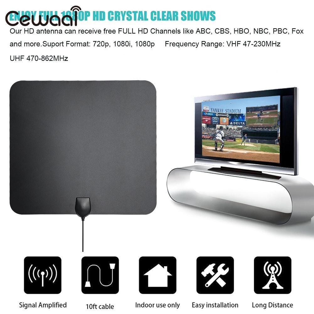 Signal Amplifier 50 Miles USB Powered Ultra Thin Indoor HDTV Antenna Set-Top Box 28 DBi Booster 1080P Signal Receiver