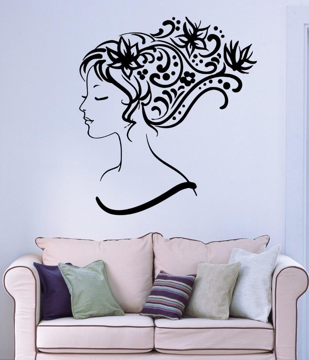 Beauty Salon Vinyl Wall Decal Sexy Girl Abstract Hair Salon Flower - Vinyl wall decals abstract