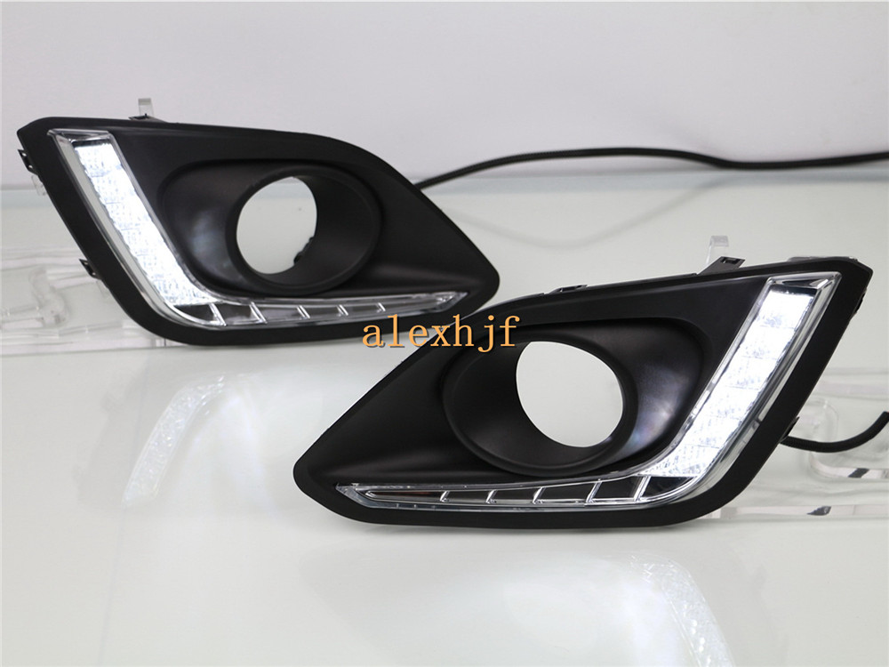 July King LED Daytime Running Lights Case for Suzuki Swift 2014~ON, LED Front Bumper DRL With Fog Lamp Cover, 1:1 Replacement for opel astra h gtc 2005 15 h11 wiring harness sockets wire connector switch 2 fog lights drl front bumper 5d lens led lamp