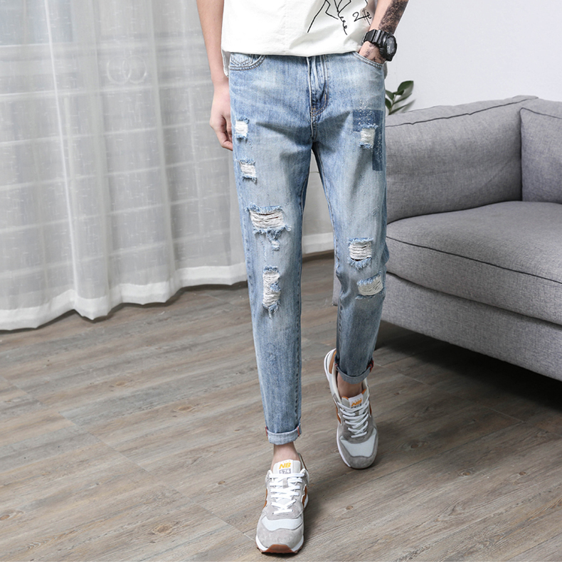 KSTUN Men's Jeans Korean Style Thin Cotton Ripped Distressed Painted Denim Jean Man Jogger Hiphop Broken Jeans Length 90cm-97cm 20