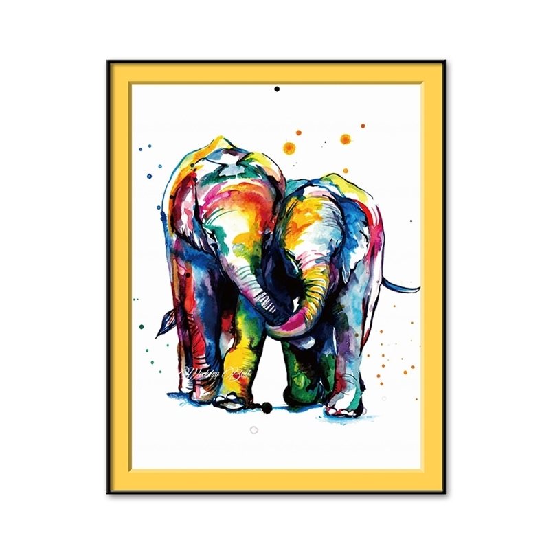 New Painting By Numbers Watercolor Elephant Oil On Canvas S M Decoration Pictures