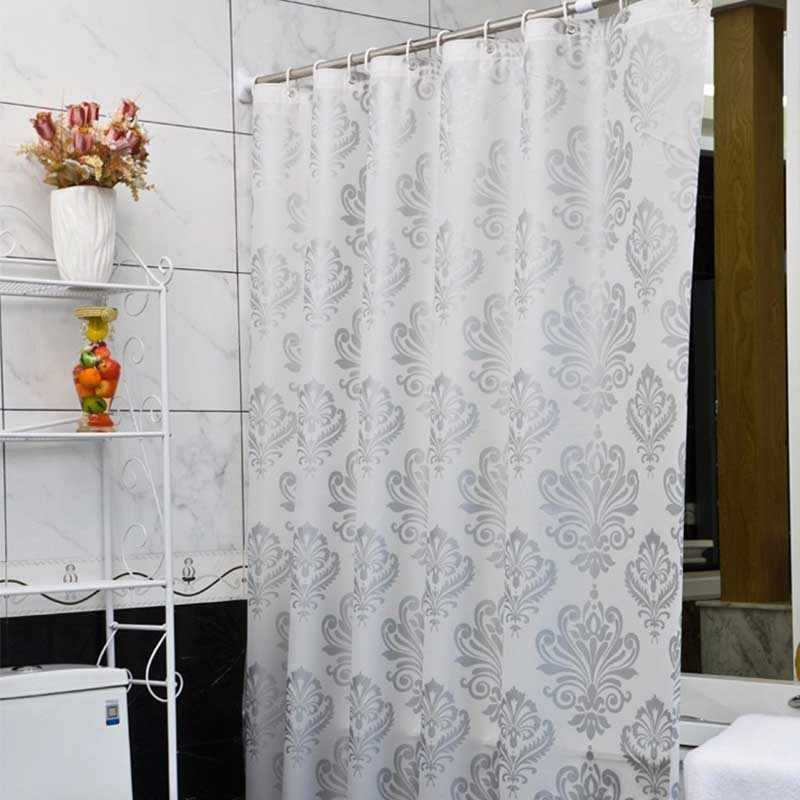 PEVA Fabric Shower Curtain with Hooks Waterproof Plastic Bath Screens Geometric Flowers Printing Eco-friendly Bathroom Curtains
