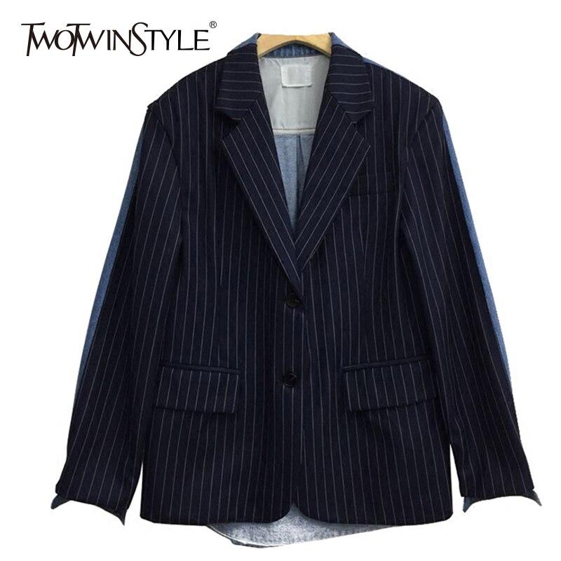 TWOTWINSTYLE Striped Coat Female Denim Patchwork Long Sleeve Large Size Blazer Spring 2019 Womens Fashion Korean Clothing