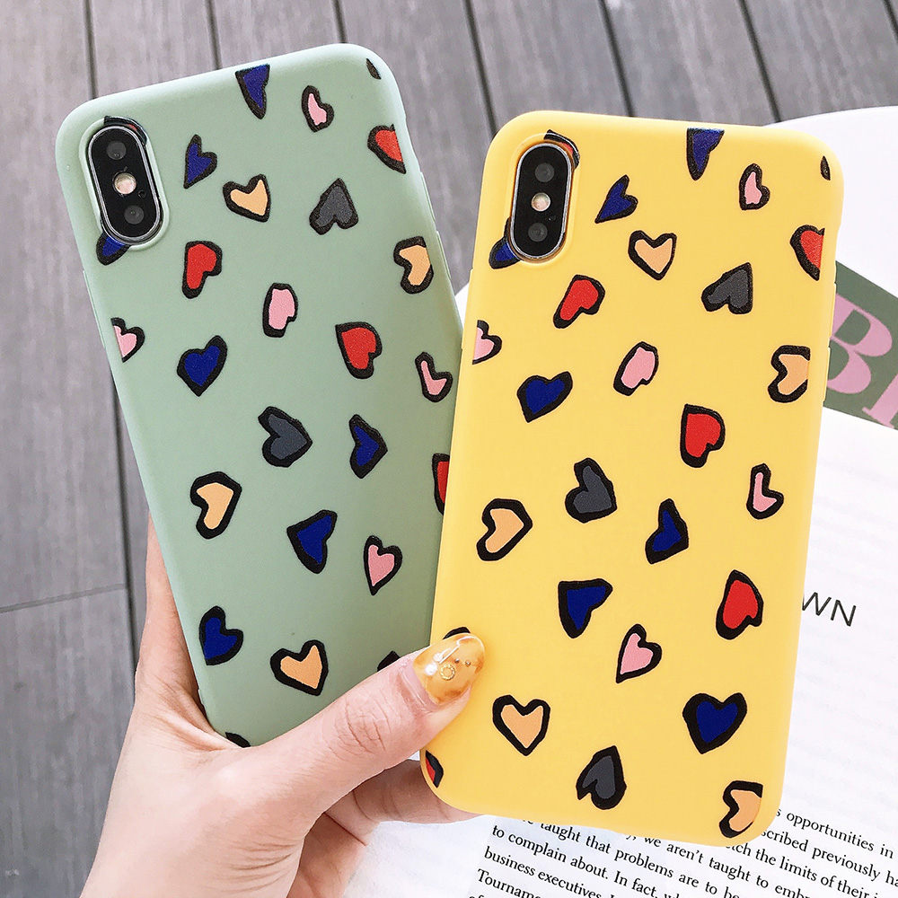 KIPX1116_1_JONSNOW Phone Case for iPhone X XS XR XS Max 6 6S 7 8 Plus Painted Heart Leopard Style Frosted Soft Silicone Cover Cases Capa Fundas