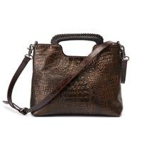 New genuine leather women's handbags 2019 vintage bucket messenger bag high quality cowhide leather crocodile pattern hand bag