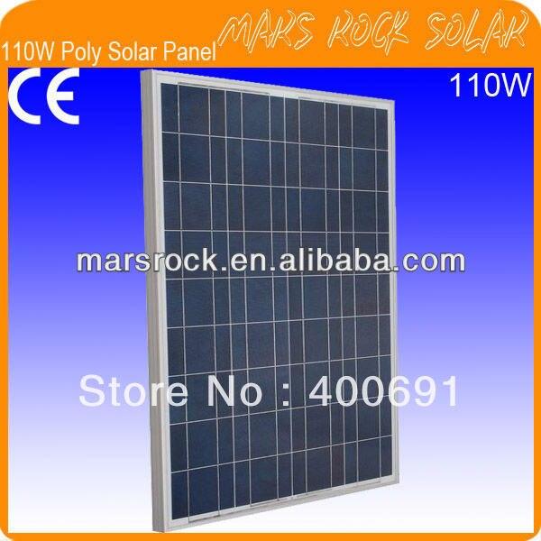 Module de panneau solaire en silicium polycristallin 110 W 18 V avec norme d'approbation CE, IEC, TUV, ISO, UL, RoHS