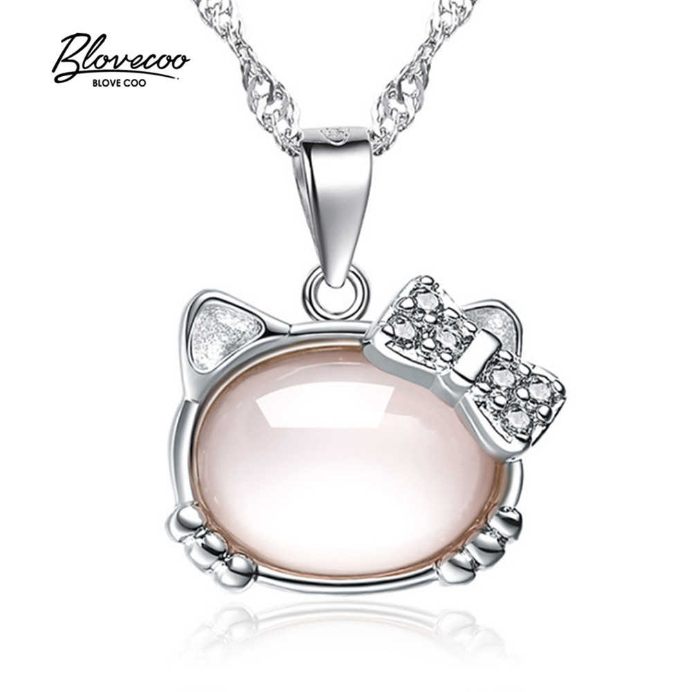Pingentes de jóias de Prata da Marca de moda feminina de Strass zircão Colar de pingente Olá Kitty Pingente lindo Colar de comprimento 45 CM