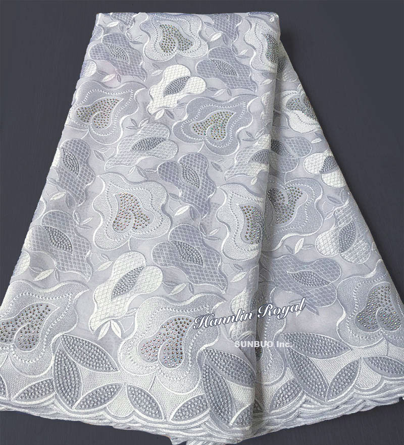 Plain white African Swiss lace voile fabric cotton 100 without holes suitable for men and women