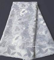 Plain White African Swiss Lace Voile Fabric Has No Holes Suitable For Men Large Quantity Of