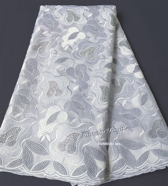 Plain white African Swiss lace voile fabric cotton 100% without holes  suitable for men and