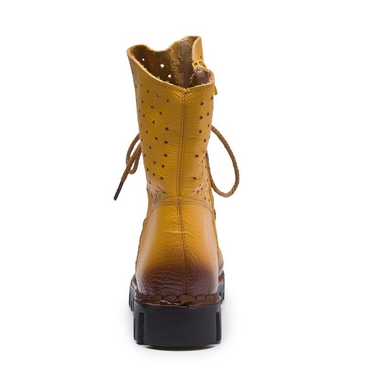 Yellow Della Mujer Stivali Scarpe 2019 red Hollow Nuove Primavera Donne Del Cuoio Chaussures Estate Autunno Caviglia black Femme blue B Genuino Botas P4BPUqf