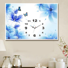 5d diy Diamond Embroidery, Blue Flower, Butterfly, Diamond Painting Wall Clocks, Home Decor