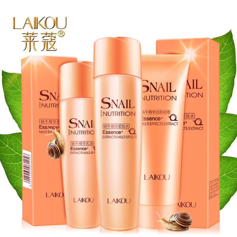 LAIKOU Snail nutrition Essence extracts multi effect of 3-piece set skin care cosmetics facial cleanser toner moisturizing