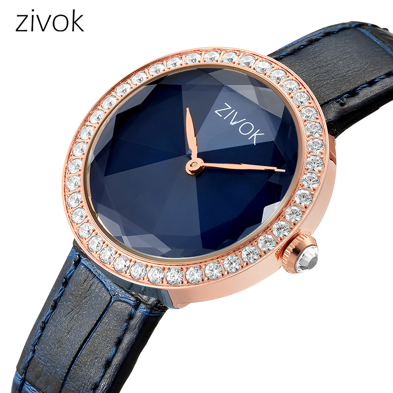 Women watch zivok Luxury Diamond with miyota Movement Genuine Leather Strap Ladies Quartz Watch Fashion Clock girl`s gift 803