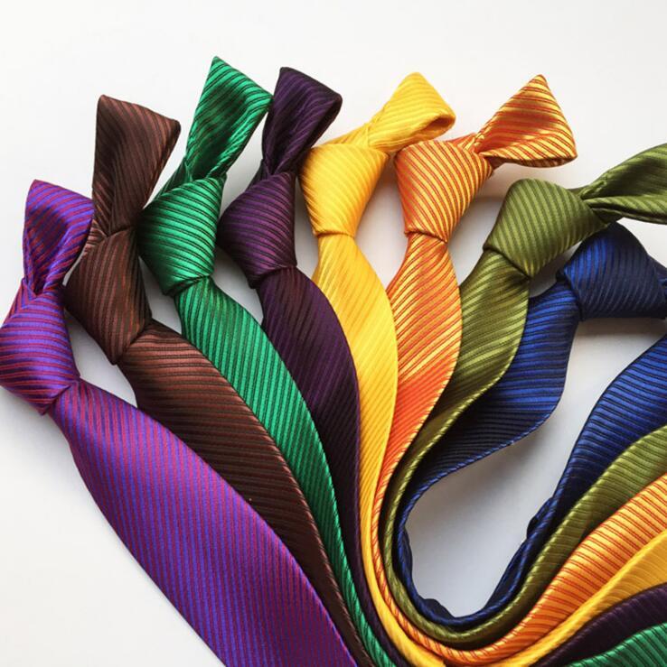 RBOCOTT 8 Cm Plain Ties For Men Solid Color Necktie Striped Neck Tie Purple Brown Yellow Blue 16 Colors For Wedding Formal Suit