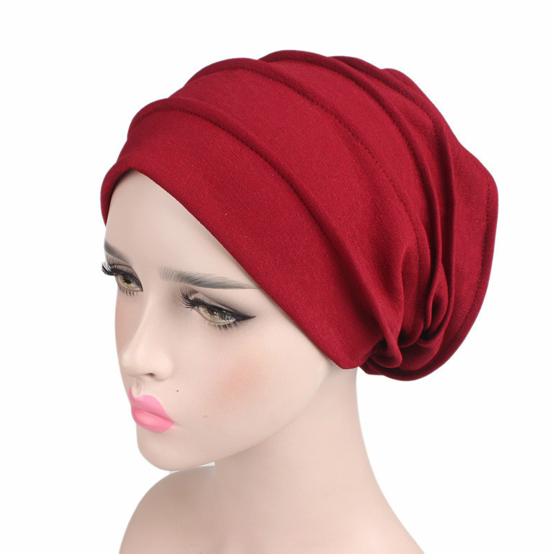 Women Cotton Breathe Hat New Women Winter Turban Hat Elastic Cloth Head Cap Hat Lady Hair Accessories Muslim Scarf Cap Wholesale