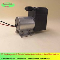 2pcs 5L/M brushless air electric vacuum pump small vacuum pump DC power supply 60Kpa vacuum 150Kpa pressure