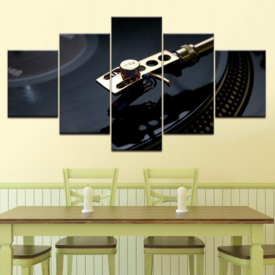 Vinyl Records Vintage 5 Piece Wall Artwork Wallpapers Modern