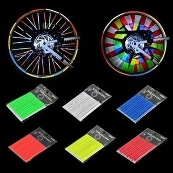 MTB Bike Steel Reflective Strip Spoke Wind Fire Wheel Reflective Card Bicycle Spokes Reflex Rim Spoke Steel Wire Cycling Safety