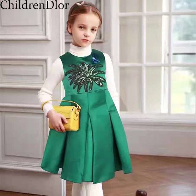 Vestido de la muchacha con Lentejuelas 2017 de la Marca de Invierno Vestido de Traje para Los Niños Vestidos de Princesa Verde Lentejuelas Reine Des Traje Ropa de Los Niños