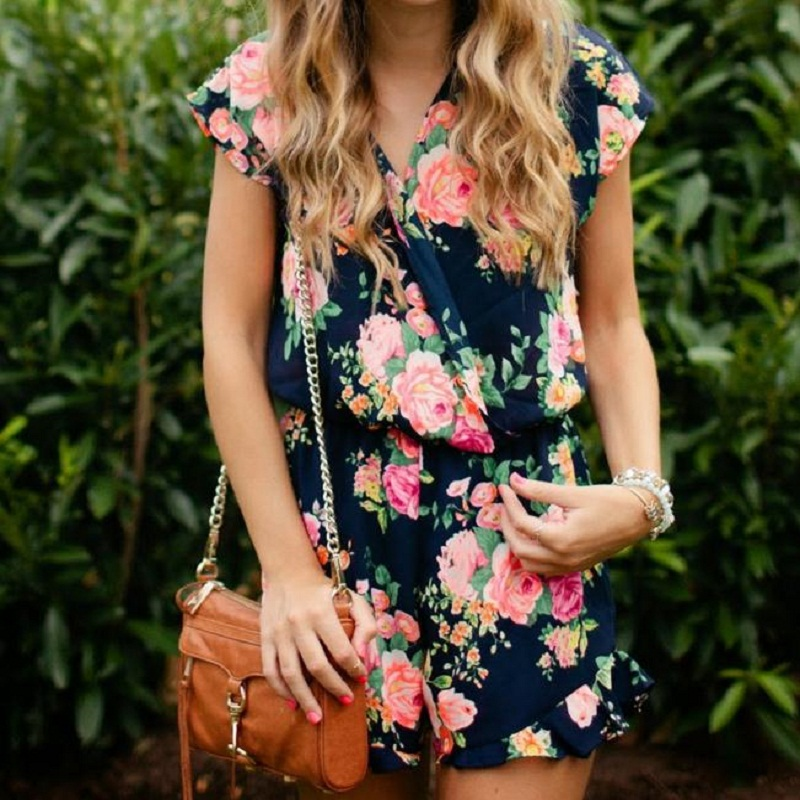 Women playsuits summer sexy deep v neck floral printed short sleeve female jumpsuit loose casual fashion