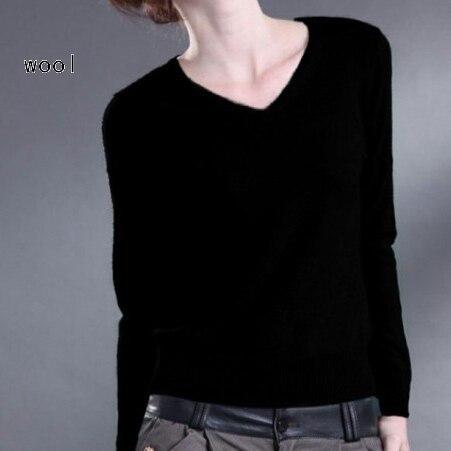 2016 новых женщин V-образным Вырезом кашемировый свитер женщин шерсти пуловер подлинная твердых специальные рубашки Тонкий свитер бесплатная доставка