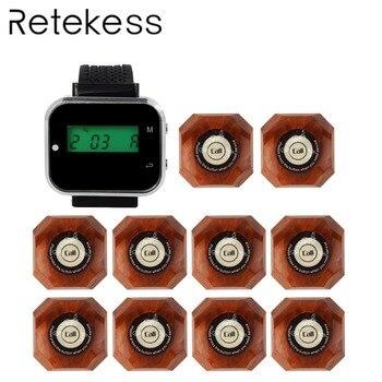 RETEKESS Беспроводная система вызова официанта система вызова гостей часы пейджер 1 часы приемник + 10 Кнопка вызова F3300A