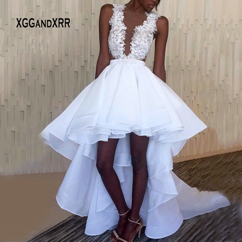 Sexy White High Low Wedding Dresses 2019 Lace Appliques Scoop Sleeveless vestido de noiva African Wedding Gowns Plus Size