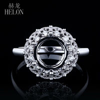 Prong Full Cut 0 15ct Natural Semi Mount Round 7 9mm Ring Real 14K White Gold