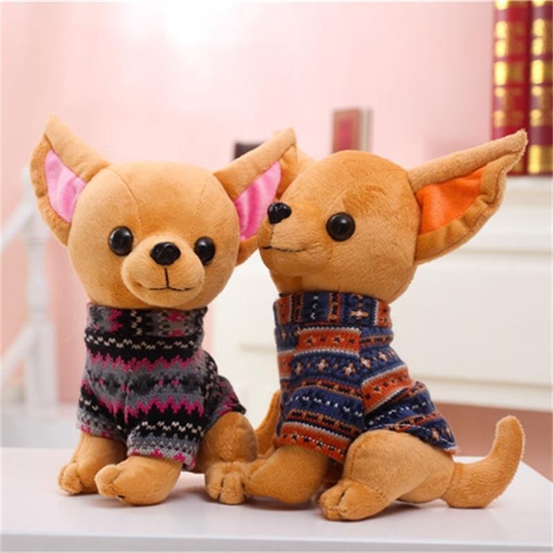 Творчески чихуахуа куче плюшени играчки имитация кукла кукла карикатура подарък за рожден ден 25см