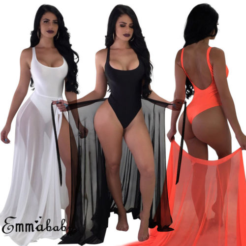 Two-Pieces Set Women Solid Swimsuit Swimwear +Cover Up Sheer Beach Maxi Wrap Skirt Sarong Pareo Tulle Dress Cover Up Plus Size bathing suits with sheer skirt