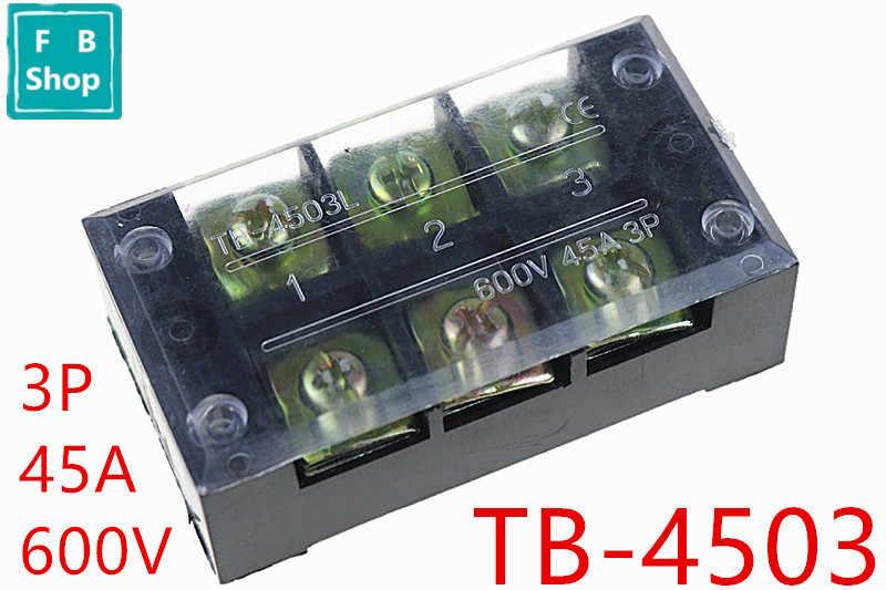 1 шт. TB-4503 4503L 600V 45A двухрядный 3 позиционный клеммный блок с винтовым барьером