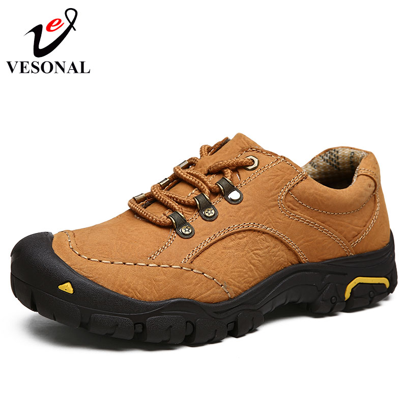 VESONAL 2018 Genuine Leather Quality Walking Casual Male Shoes For Men Adult Sneakers Classic Cargo Work